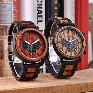 Image 4 - בובו ציפור relogio masculino יוקרה גברים שעון מתכת עץ הכרונוגרף שעוני יד קוורץ שעון מותאם אישית חג המולד מתנה