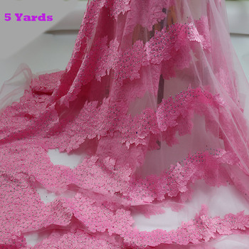 2020 Lace Fabric African French Pink Tulle For Women Wedding Party Dress