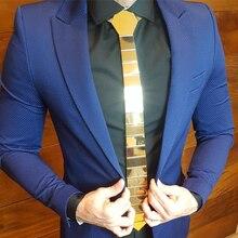 Lüks stil el yapımı çizgili Hex kravat altın ayna krom şık kravat moda eğilimli aksesuar resmi takım elbiseler Blazer düğün