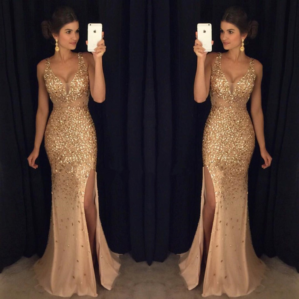 Sexy   Prom     Dress   2019 Mermaid Deep V-neck Tulle Beaded Crystals Slit Backless Long   Prom   Gown Evening   Dresses   Robe De Soiree