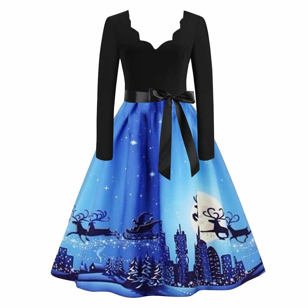 חורף חג מולד שמלות נשים בציר Robe Swing Pinup אלגנטי המפלגה שמלה ארוך שרוול מזדמן כחול שמלת vestidos