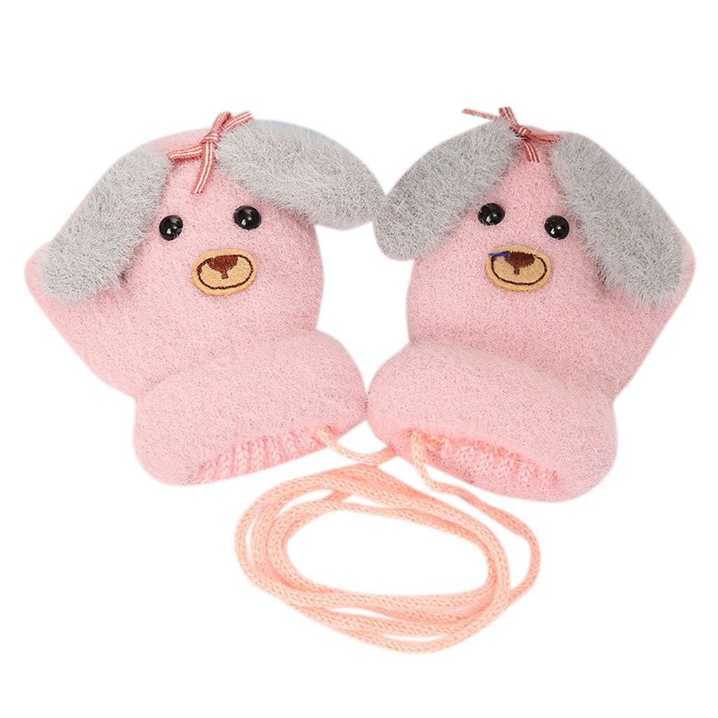 Детские теплые трикотажные зимние перчатки с милыми мультяшными животными для мальчиков и девочек, милые Мультяшные перчатки для детей, теплые зимние перчатки - Цвет: B