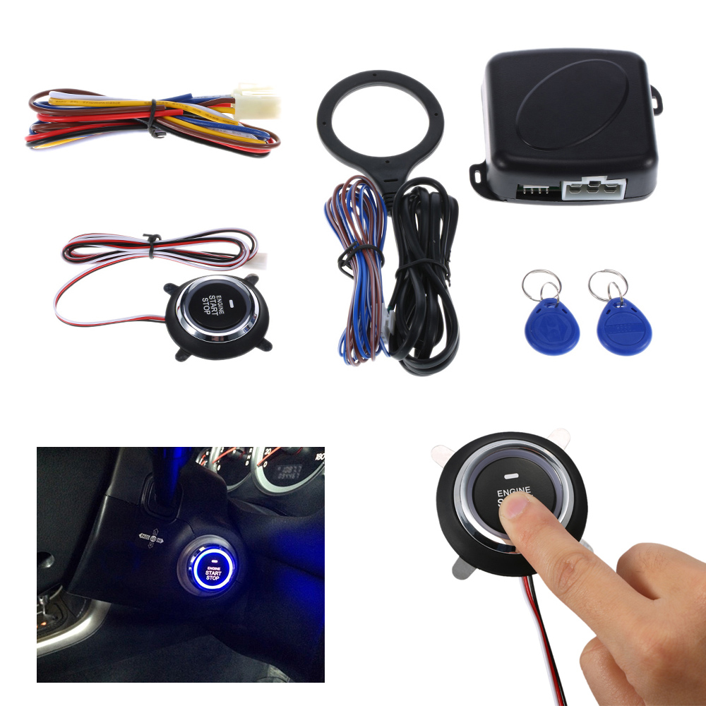 For Car Alarm Engine Starline Push Button Start Stop RFID Lock Ignition Switch Keyless Entry System Starter Anti-theft System title=