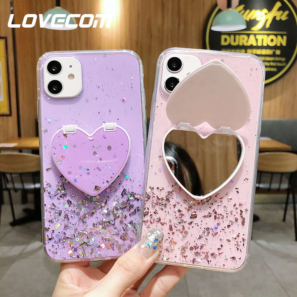 LOVECOM Heart Mirror Sequins Glitter Phone Case For iPhone 11 Pro Max XR XS Max 6 7 8 Plus X Soft Epoxy Stand Back Cover Gifts
