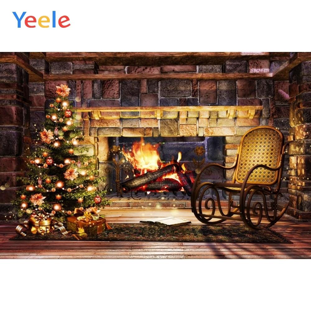 Yeele Christmas Backdrop Fireplace Vintage Chair Indoor Photography Background For Photo Studio Baby Portrait Photobooth Vinyl