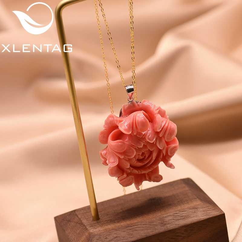 XlentAg Original Designer Coral Flower 925 Sterling Silver Pendant Necklace For Women Party Kolye Collares Fine Jewelry GN0072