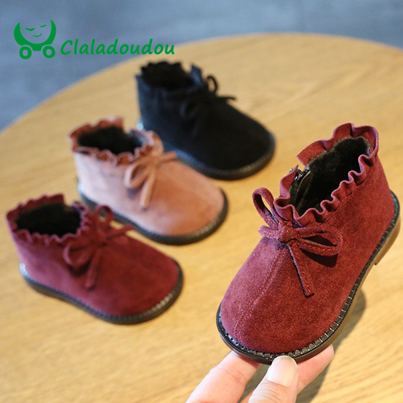 Claladoudou 12-15.5CM Brand Suede Winter Shoes Baby Black Red Princess Cute Bow Ruffle Toddler Fringe Boots Infant Winter Flats
