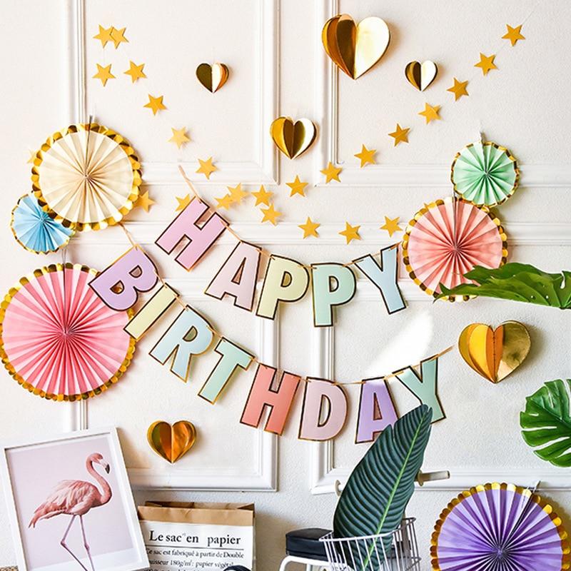 Баннеры на день рождения, украшения в виде леденцов, гирлянды, бронзированные Макаруны, вечерние украшения на первый день рождения, детский ...