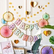 Wszystkiego najlepszego z okazji urodzin Banner Candy Bar Garland Decor brązujący Macaron wszystkiego najlepszego z okazji urodzin trznadel pierwsze przyjęcie urodzinowe Baby shower