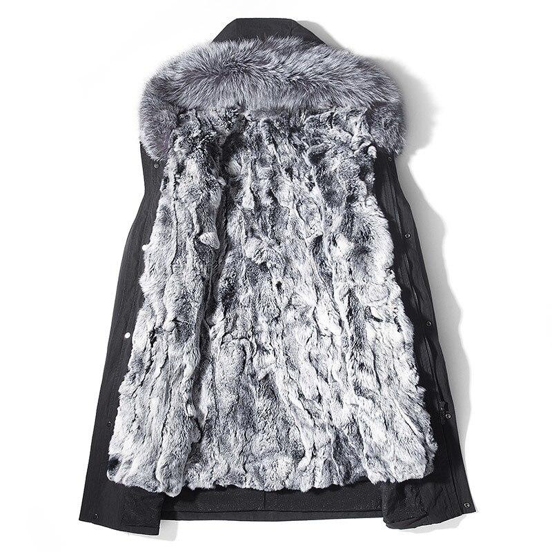 Real Fur Coat Men Real Rabbir Fur Liner Winter Coat Men Fox Fur Collar Hooded Long Parkas Casaco RS5196A YY1364