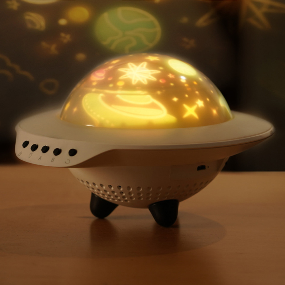 UFO Flying Saucer Starry Sky Projection Bluetooth Speaker Romantic And Fun Atmosphere Led Night Light Bedroom Decoration Lamp