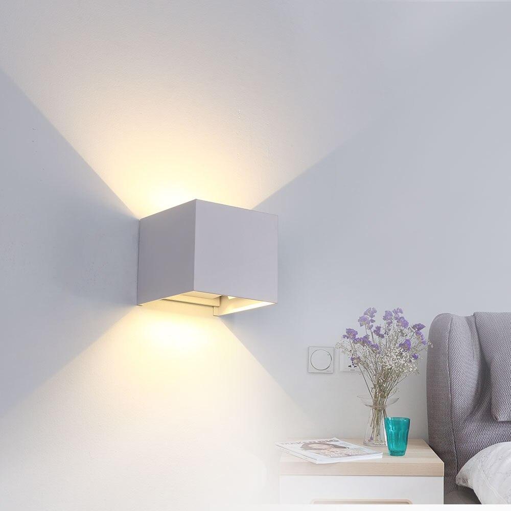 IP65 LED 6W/12W luz de pared impermeable al aire libre ángulo ajustable impermeable Luz de jardín AV85-265V Luz de porche exterior moderna