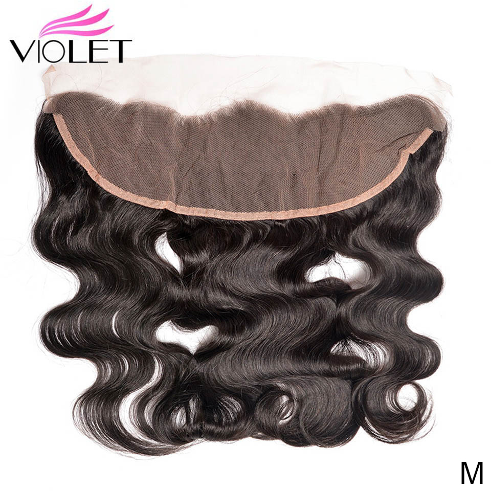 VIOLET Brazilian Body Wave 4×4 Lace Frontal Middle Ratio 8-20 Inch Non-Remy Natural Color 100% Human Hair Frontal  Free Part