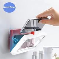 Soporte de teléfono móvil para inodoro de baño, caja de almacenamiento de jabón montada en la pared, 6 pulgadas, resistente al agua, soporte para observación de Ducha