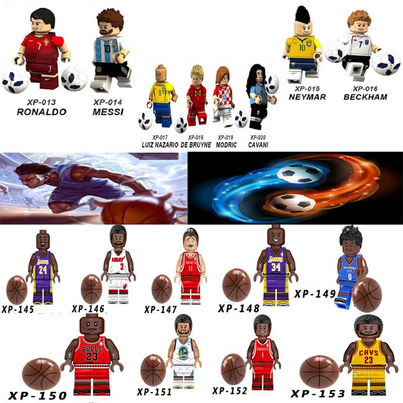 Kobe Bryant LeBron James Basketball Football Players Figures Messi Ronaldo Neymar Beckham Sportman Building Blocks Toy Gifts