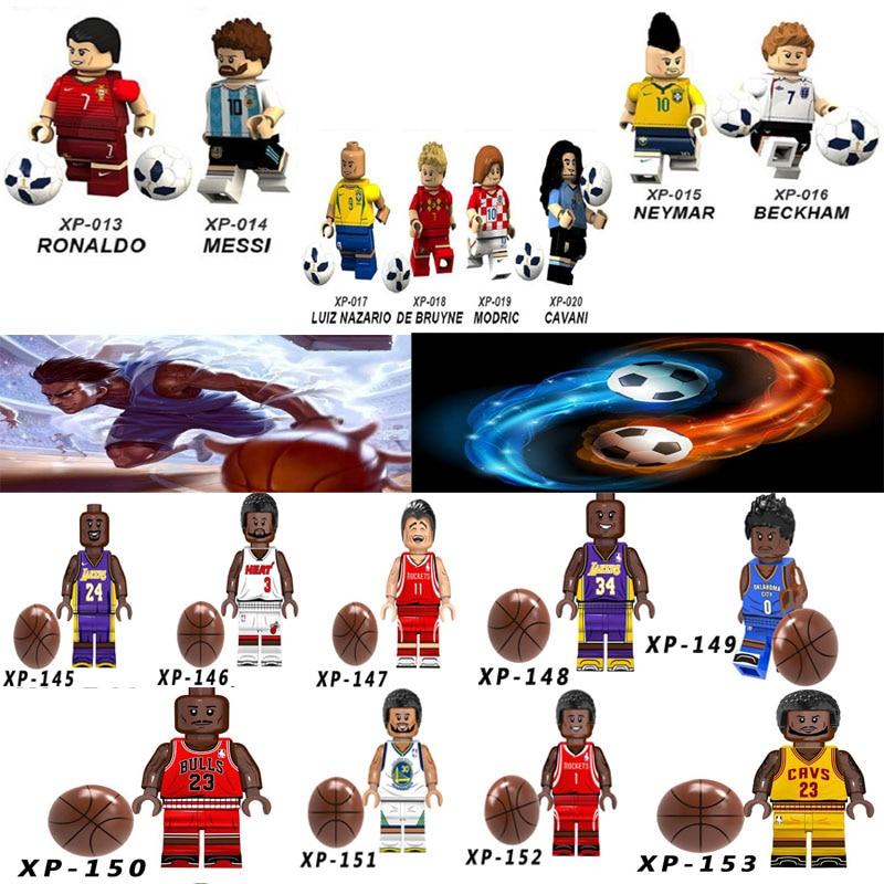 Kobe Bryant LeBron James Basketball Football Players Figures Messi Ronaldo Neymar Beckham Sportman Building Blocks Toy Gifts