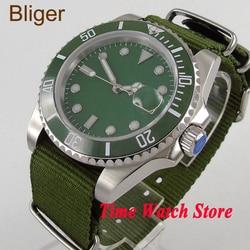 Bliger 40mm męski zegarek zielony sterylny dial luminous sahire szkło zielona ceramiczna ramka szkiełka zegarka mechanizm automatyczny zegarek na rękę mężczyźni 111