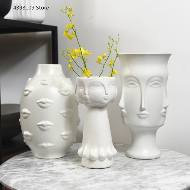 Nordic art ceramic vase creative black and white ceramic face vase decoration home decoration crafts porcelain vase decoration 2