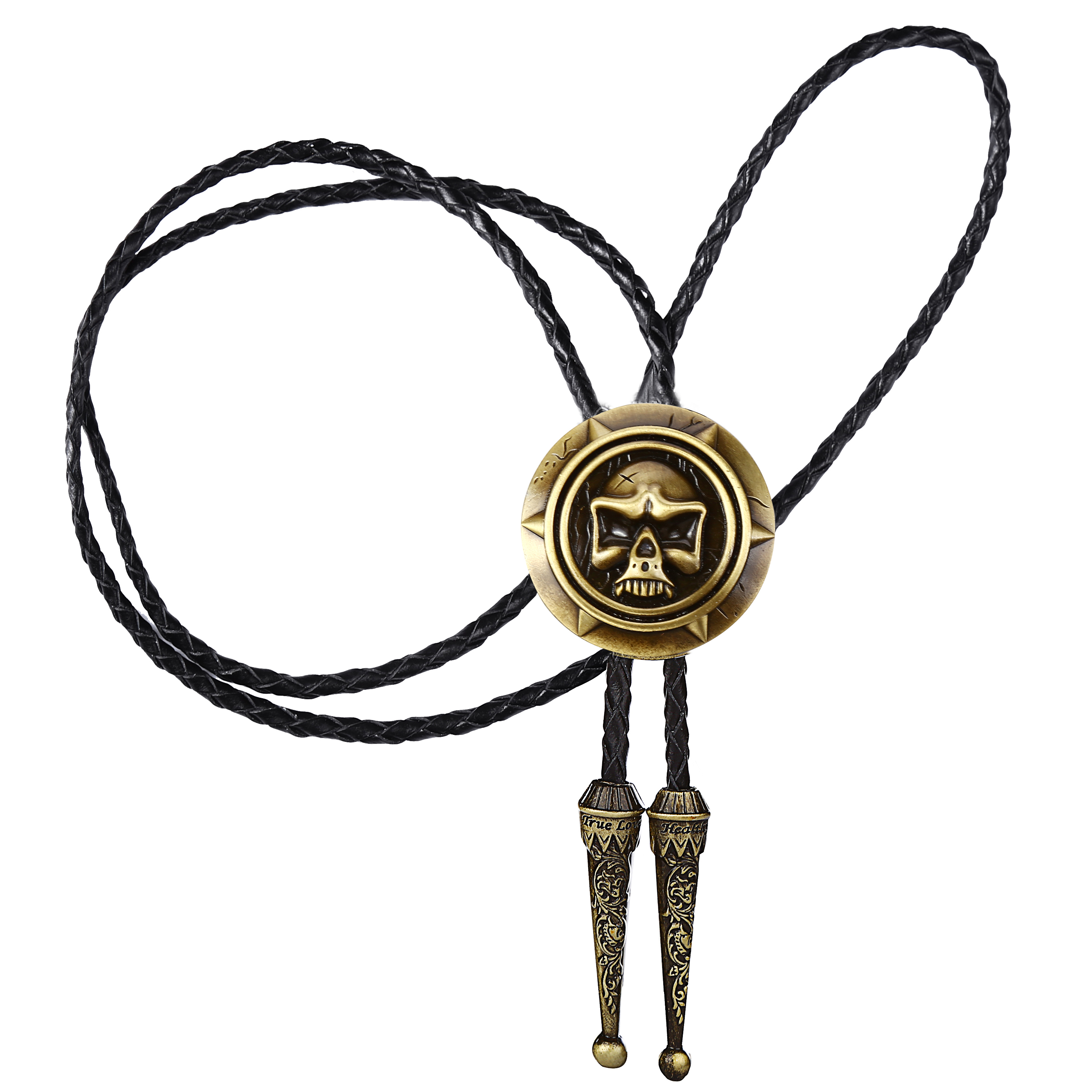 Man BOLO TIE Halloween Gift Leather Collar Rope Ghost Head Stylish Alloy TIE