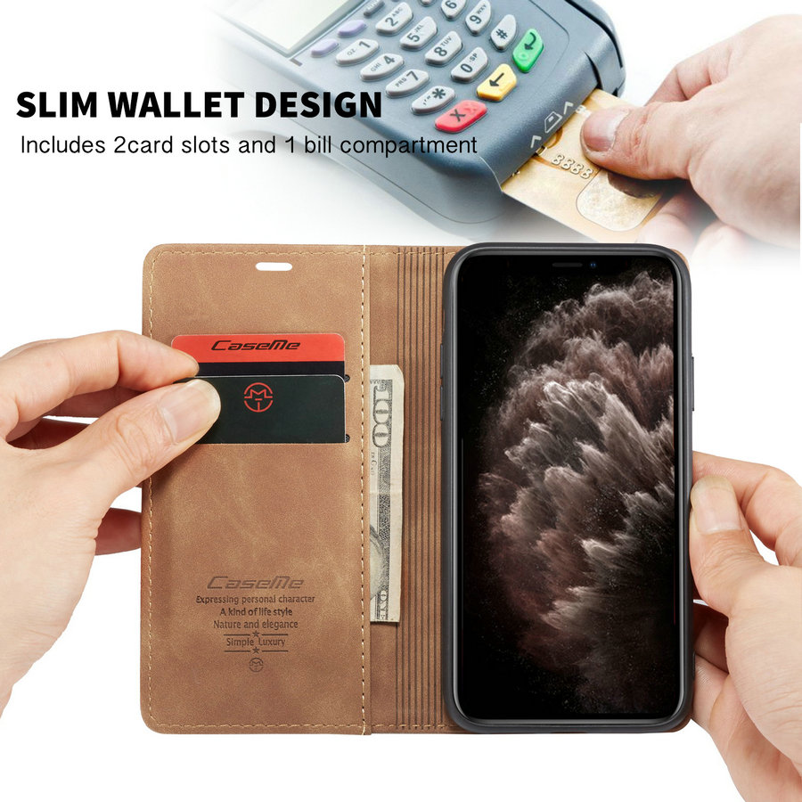 CaseMe Leather Case For iPhone 11 Wallet Cases Cover Wallet Card Design Vintage Book For iPhone 6 6S 7 8 Plus X XR XS 11 Pro Max