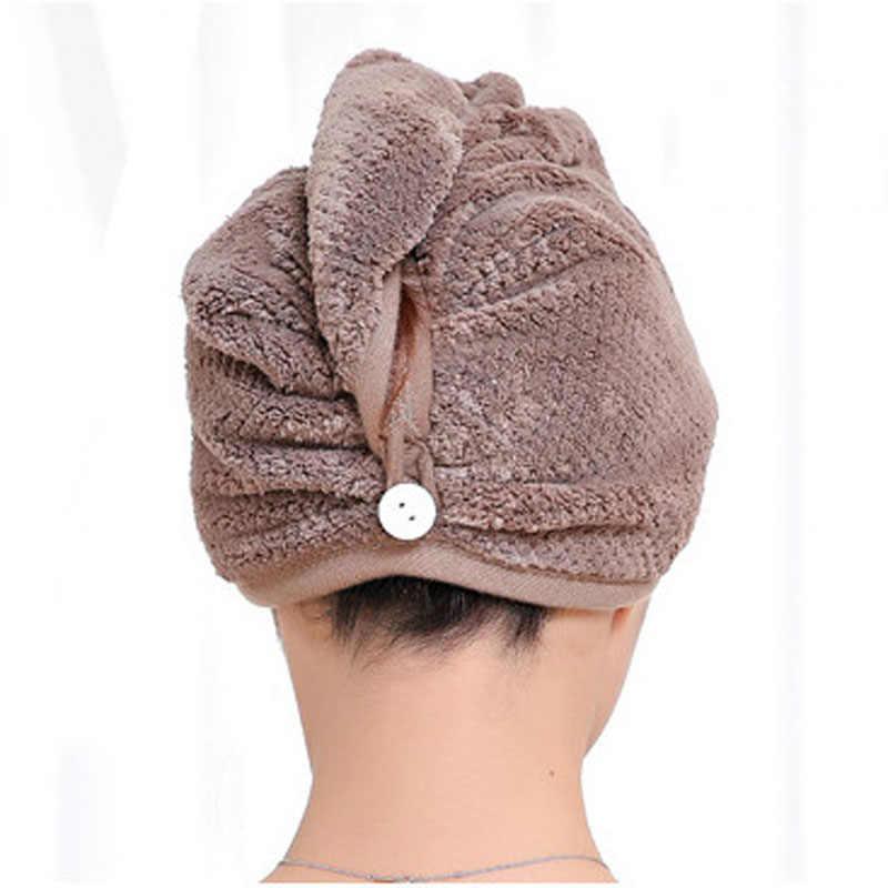 ツイストドライシャワーマイクロファイバーヘアラップタオル乾燥バススパヘッドキャップ帽子女性