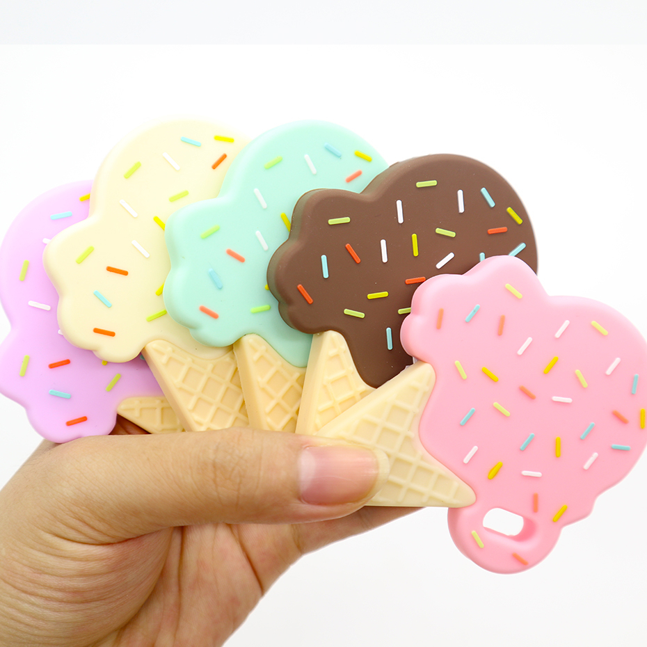 Itymama 10pc Ice Cream Silicone Teether Infant baby teething toys for newborns DIY Stroller Accessories baby teether BPA free