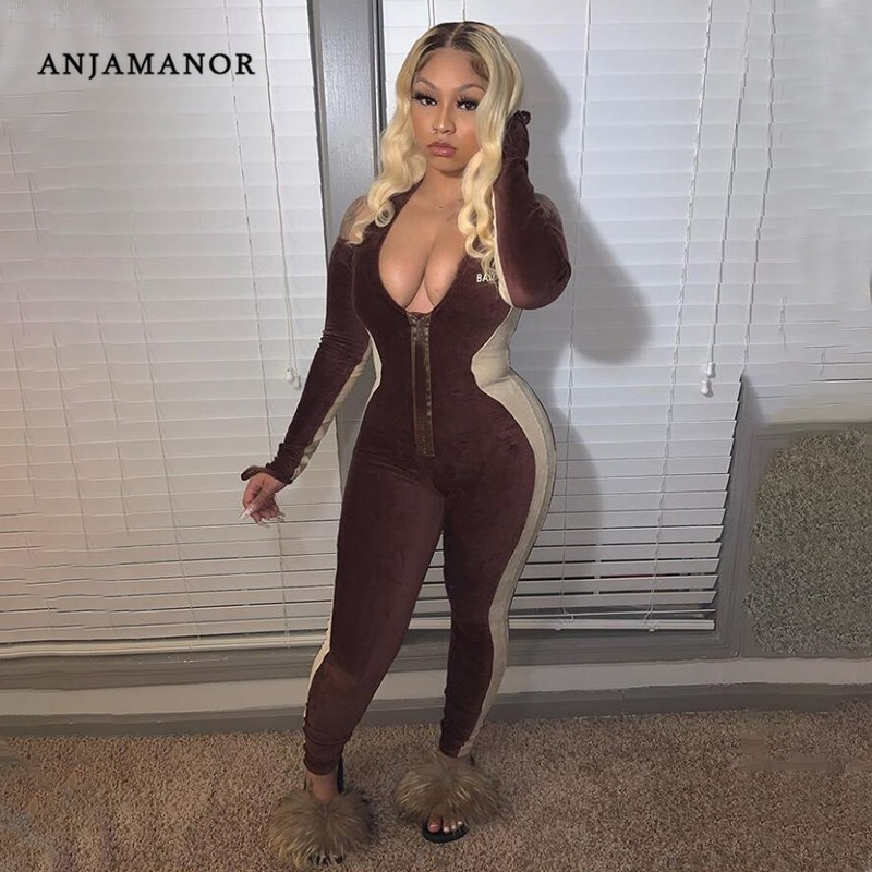 ANJAMANOR Brown Ribbed Knitted V Neck Long Sleeve Jumpsuits for Women 2020 Fall Clothes Bodycon Tracksuit Sexy Clubwear D37-DE42