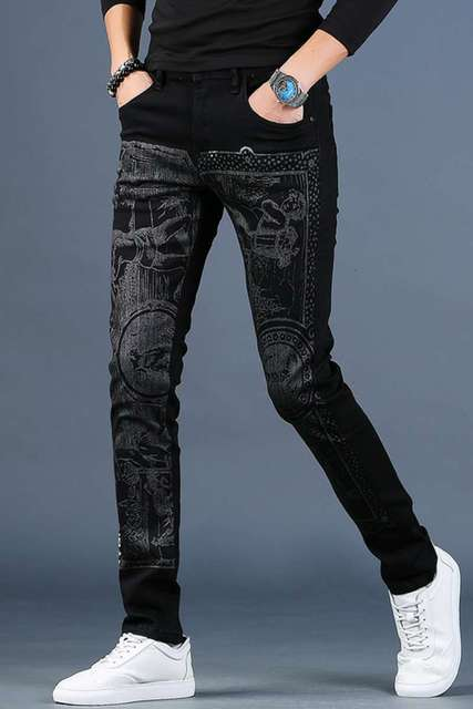 Free shipping new fashion male Men's printed plus velvet jeans thick casual slim feet pants Korean winter trousers 99% cotton 23