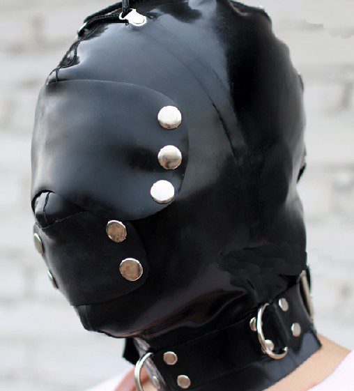 Latex  Mask Bondage Hood Cover By Snap And Neck Band Head Hats With Back Zipper Strings Extra Thickness Mouth Cover Plug Gags