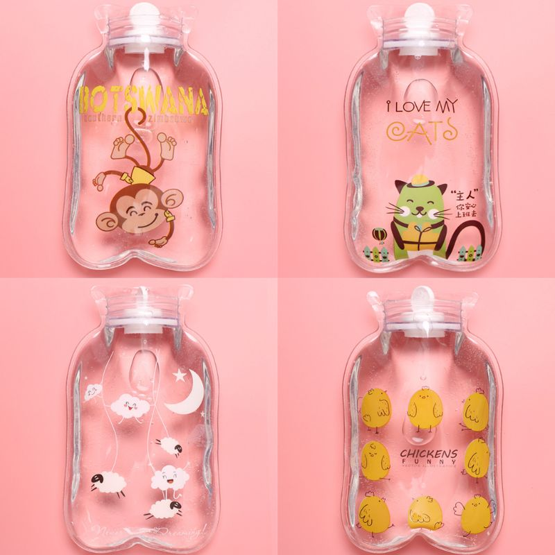 Купить с кэшбэком Mini Clear Cartoon Hot Water Bottle Bag Cute Fruits Animal Print PVC Hand Warmer