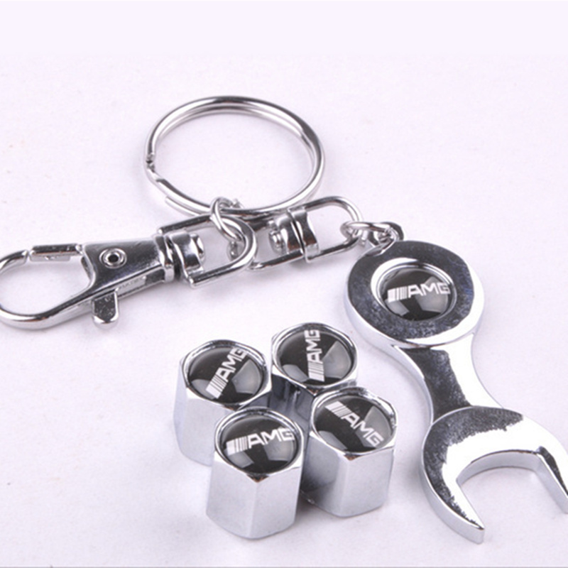 4 Pcs Car Wheel Tire Valve Cap Tyre Stem Air Cover And Wrench For AMG Car Styling