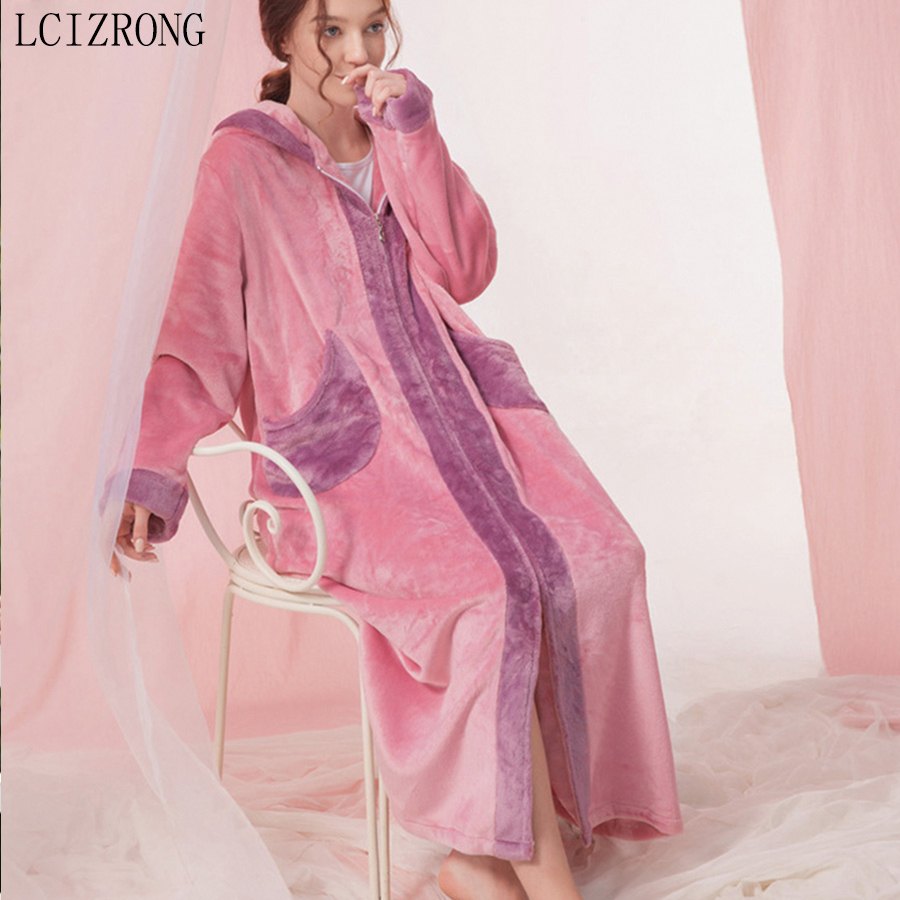 Winter Zipped Hooded Long Sleepwear Dress Women Loose Warm Flannel Robes With Pocket Plus Size Dressing Gown Female
