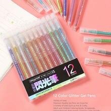 12 cores highlighter caneta conjunto bonito glitter cor gel caneta pintura ferramenta de escrita para a menina crianças presentes diy escola arte papelaria