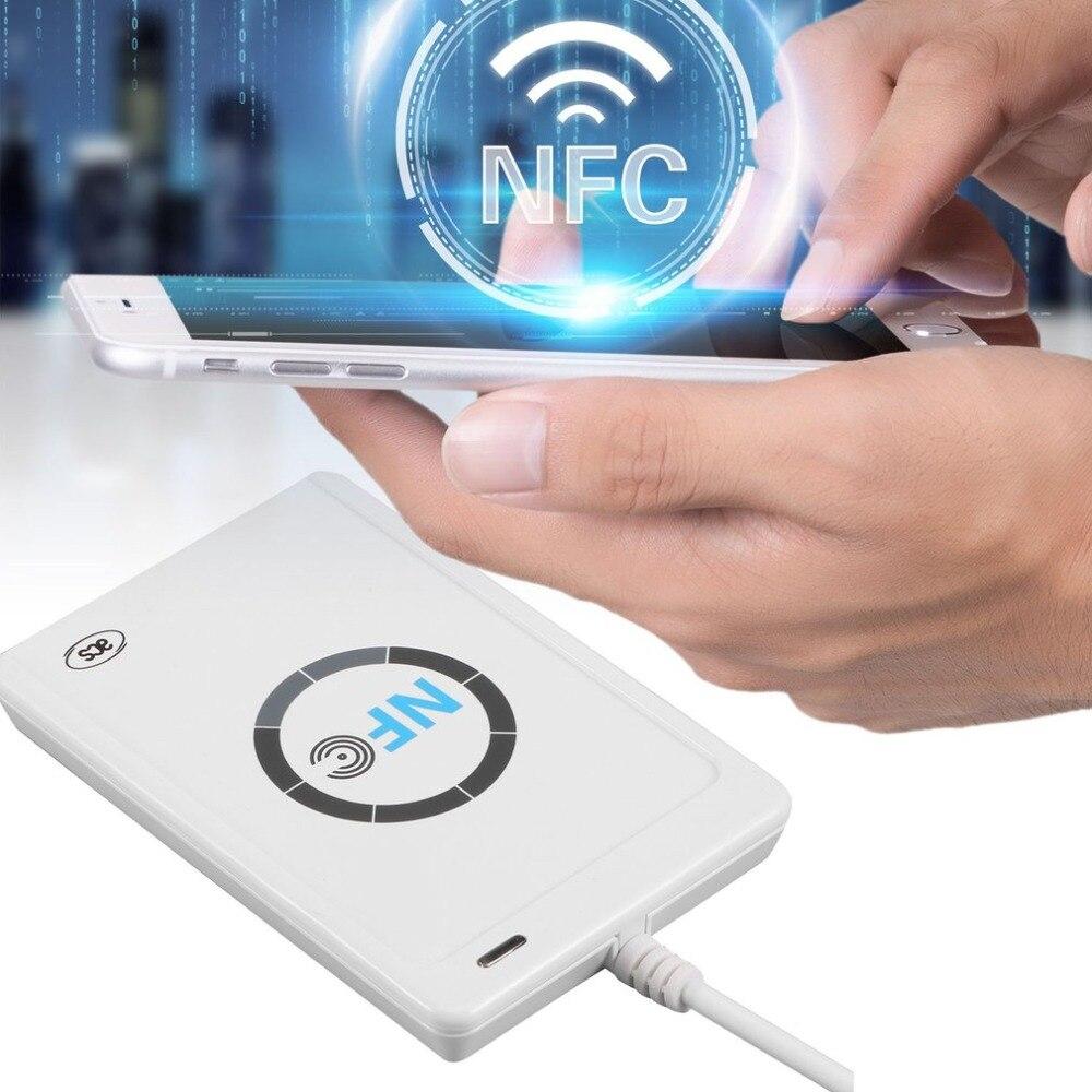 Lector de Tarjetas Inteligentes RFID, copiadora, duplicadora, Software de clonación escribible, USB S50 13,56 mhz ISO/IEC18092 + 5 uds, tarjetas M1, NFC ACR122U 10 duplicador de copiadora RFID de frecuencia inglesa 125 Khz llavero NFC lector escritor 13,56 MHz programador cifrado USB UID copia Etiqueta de tarjeta