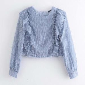 women elegant o neck long sleeve cascading ruffles casual smock blouse shirts women back buttons tassel blusas chic tops LS6205