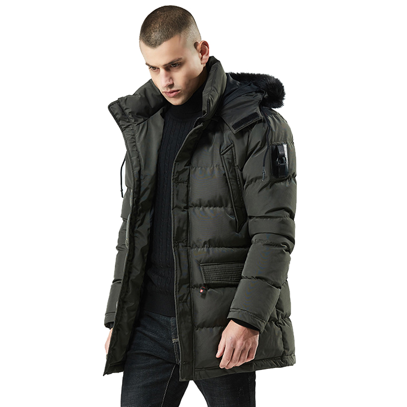 Men's Winter Down Jacket And Coat Windbreaker Fur Collar Thicken Jacket Streetwear Hiphop Long Cotton Parka Jaqueta Masculina