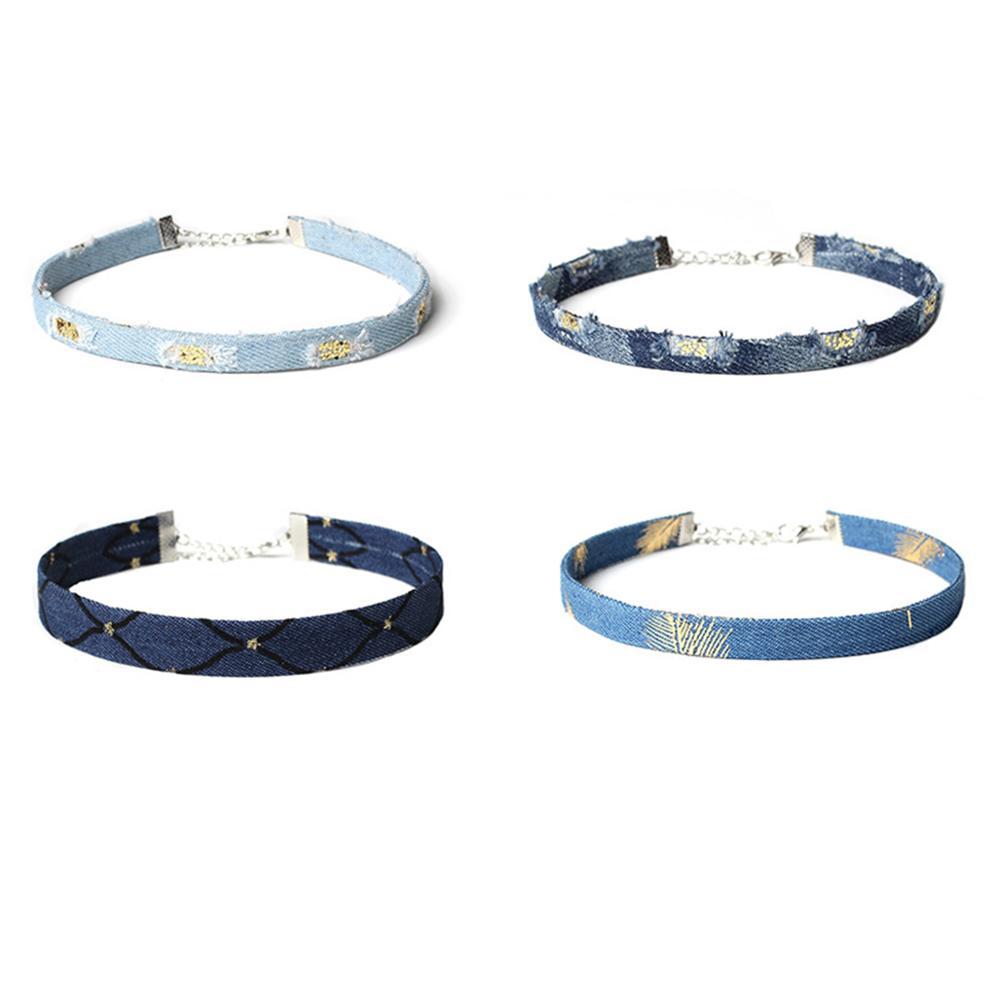 Denim Necklace Collar Chains Combination Unique Punk Style Choker Flannel Chain