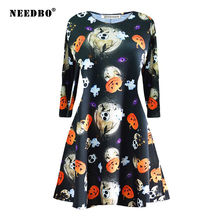 Женское винтажное платье needbo на Хэллоуин с длинным рукавом