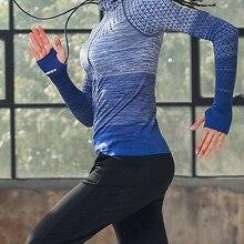 Одежда для фитнеса на молнии с шапкой, рубашка для йоги, длинная бесшовная верхняя одежда, спортивные Джерси для девочек, женские пальто, спо...