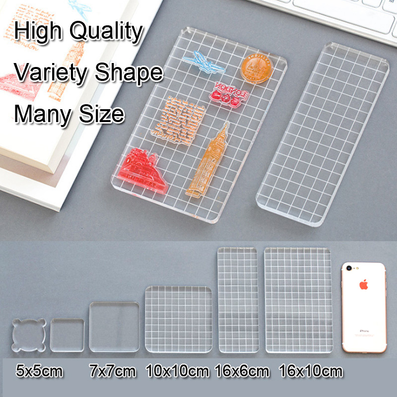 Acrylic Block For Clear Stamp Essential Stamping Tools For Scrapbooking DIY Crafts Stamps Making Transparent  Seal Handle Blocks