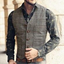 Men's suit Vest Casual Tweed Slim Fit Notch Lapel British style custom made Wais