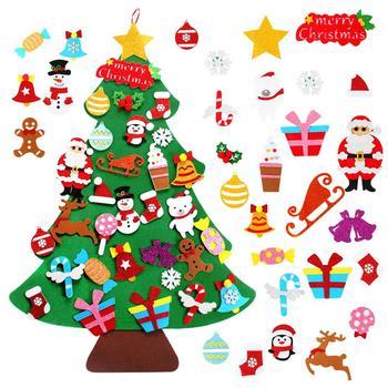 DIY Felt Christmas Tree Merry Christmas Decor For Home 2020 Christmas Tree Ornament Santa Claus Kids Xmas Tree Navidad New Year