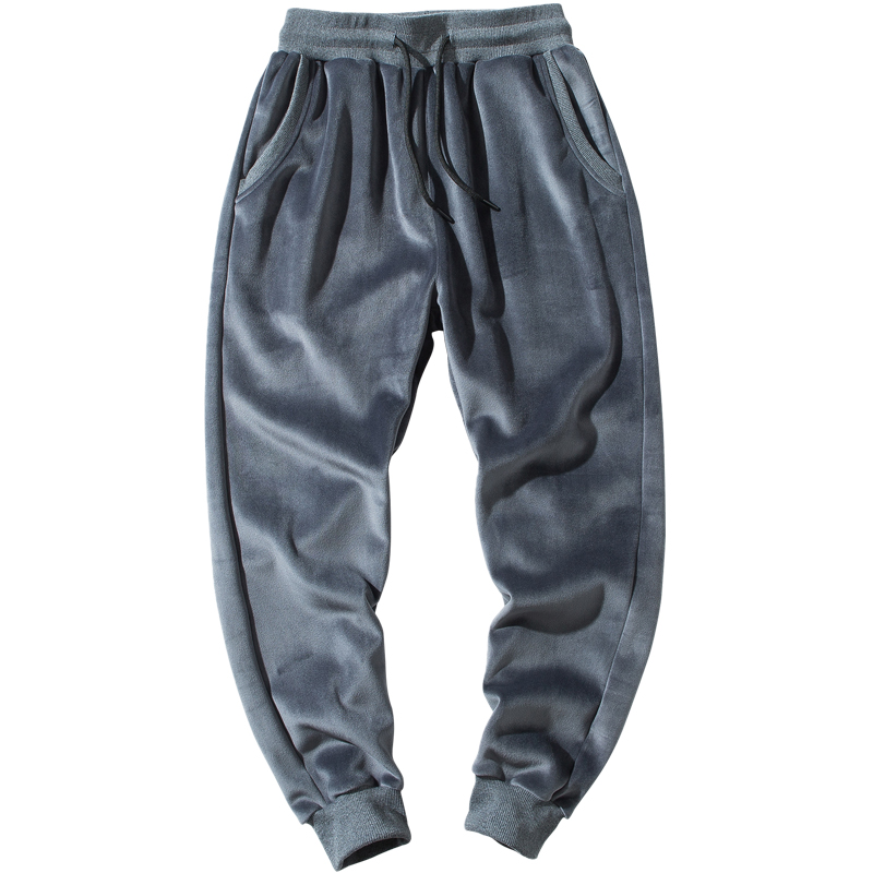 Fashion Winter Warm Fleece Jogging Pants Men Casual Slim Fit Trousers Thicken Lamb Velvet Sweatpants Male Streetwear
