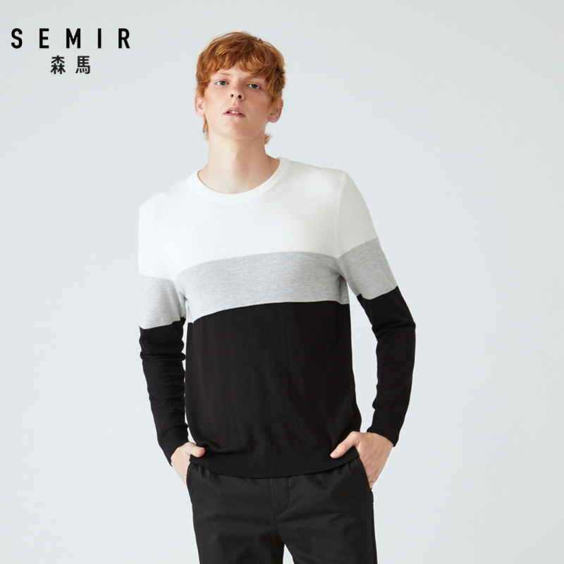 Semir Sweater Male Korean Version Round Neck Color Mosaic Sweater Men's Tops Fashion Tide Brand Youth Sweater Men