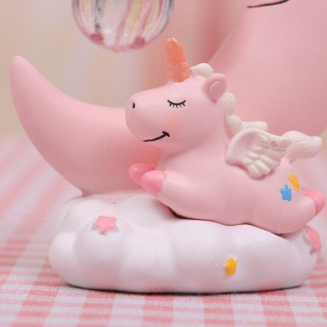 Resina Luna unicornio LED luz de noche dibujos animados bebé lámpara de cuarto de niños respiración juguete navidad regalo niños habitación artesanía Luz de mesa