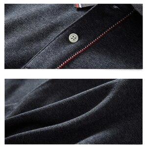 Image 4 - Camisa polo casual quente térmica camisa polo de manga longa masculina 2020 novo inverno algodão bordado plus size t superior 5xl