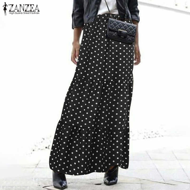 Zanzea Wanita Vintage Pinggang Tinggi Polka Dot Rok Musim Panas Bohemian Long Rok Kasual Pesta Pantai Vestido Faldas Rok Femme Jupe 7