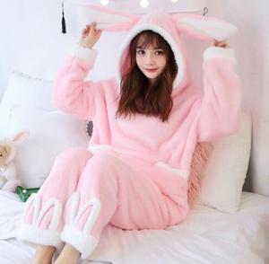 Image 3 - Fdfklak Cartoon cute pajamas for women long sleeve flannel winter pyjamas women home suit warm sleepwear pajama pijamas sets
