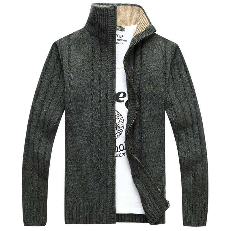 2019 Autumn And Winter New Fashion Boutique Embroidery Solid Color Casual Cardigan Stand Collar Mens Casual Sweater Coat Jackets