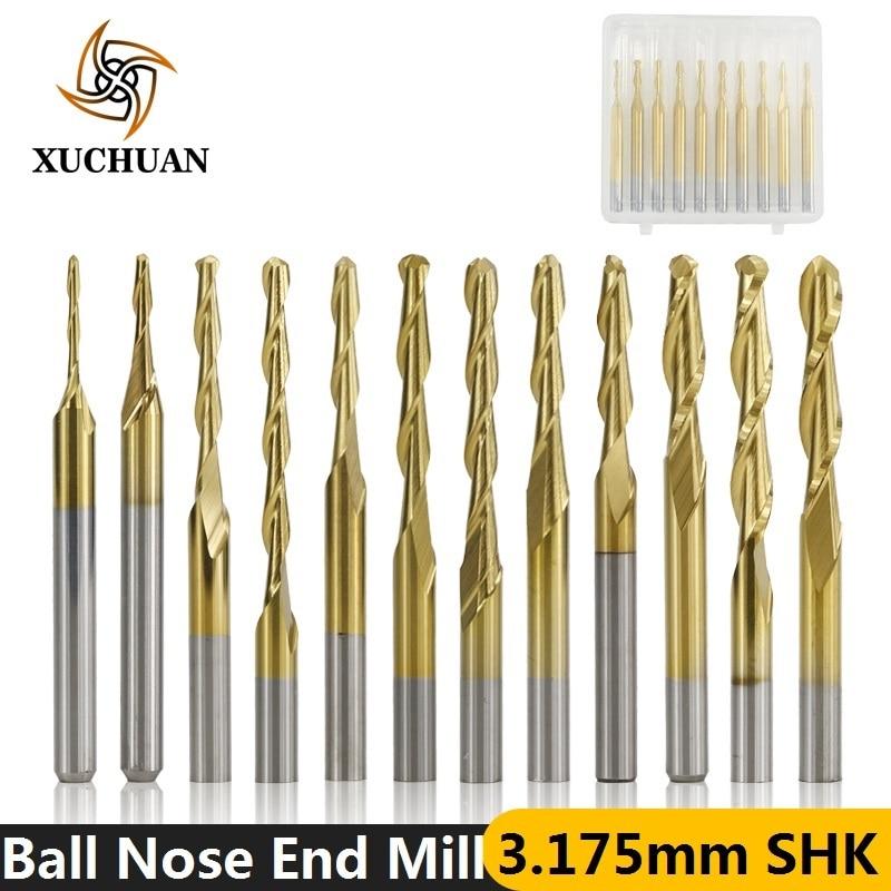 10pcs 3.175mm Shank TiN Coated Ball Nose End Mill Carbide Milling Cutter Spiral CNC Router Bit Engraving Bit